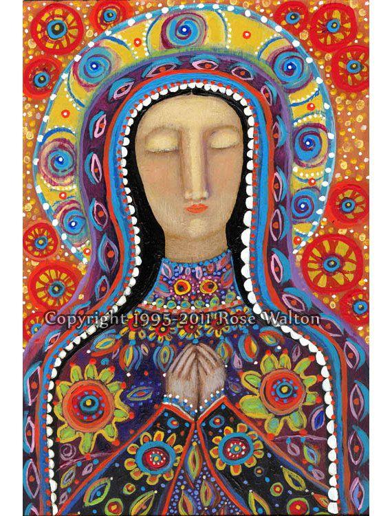 The Mexican Madonna HAND EMBELLISHED by ARTIST primitive religious folk art archival giclée print by Pennsylvania folk artist Rose Walton