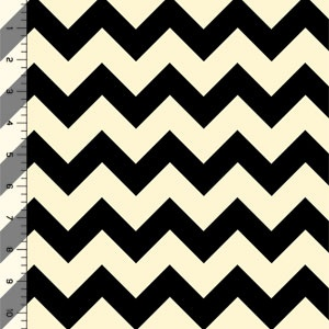 Half Yard Black Chevron on Cream Cotton Jersey Blend Knit Fabric