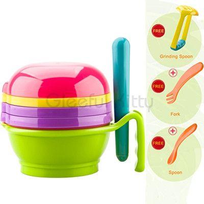 2016 10PCS/set Feeding Baby Food Mills manual Baby Food Grinder for fruit and vegetables infantil de cocina Food Press Machine