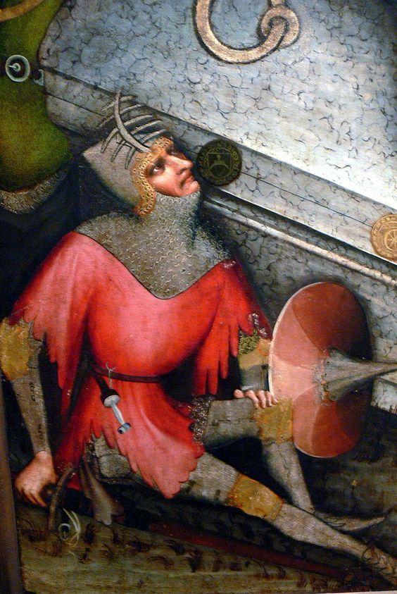 Trebon Altarpiece. 1380-1390 ca. Wolf Rib Helm. Detail.