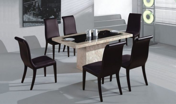 Modern Dining Set Wooden Cheap Room Sets Beautiful Chairs Used Black Color Combined With Granite Beige Table Decoration For Inspiration