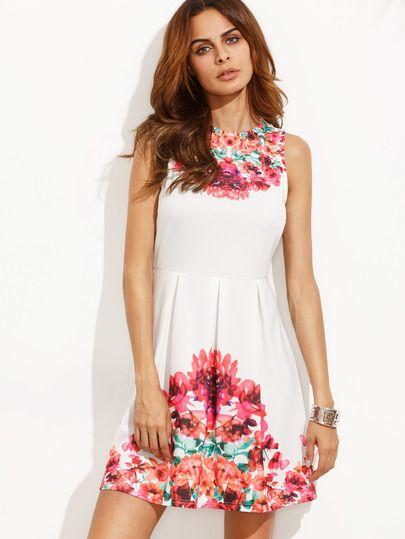 Vestido floral sin manga-Sheinside
