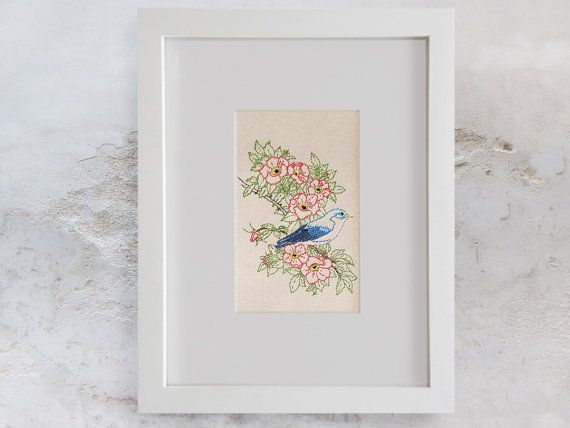 Blue Bird on a Wild Red Roses Branch. Floral by FabulousCatPapers