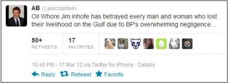 "#NewTone… Alec Balwin Tweets ""Whore"" Jim Inhofe Needs to Retire to Gay Bar | The Gateway Pundit"