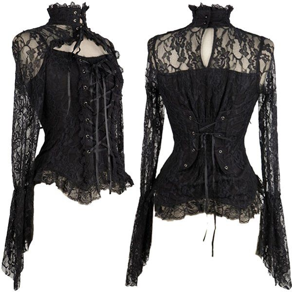Black Lace Corseted High Neck Blouse