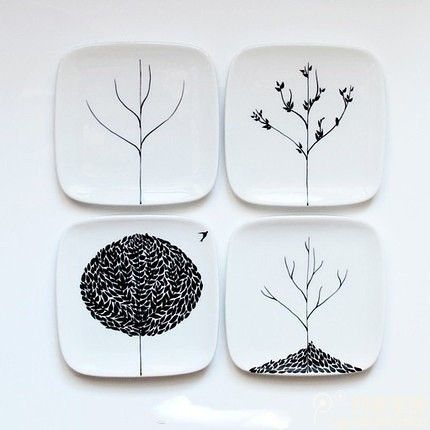 4 seasons plates, DIY place painting