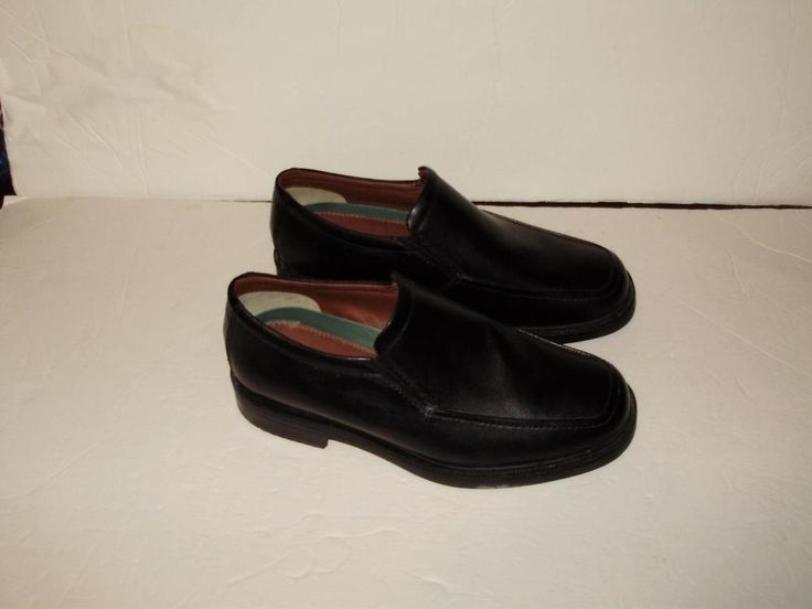 George Carl Black Leather Size 8 1/2 Slip On Formal Dress Loafers Shoes #George #LoafersSlipOns
