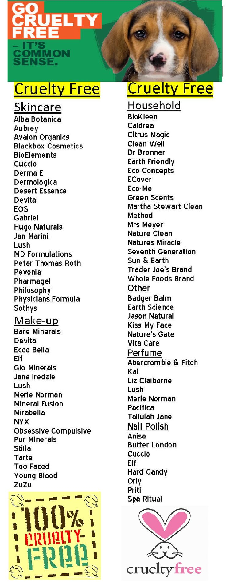 Support cruelty free companies and their products. CHECK PETA's website for which companies are CURRENTLY cruelty-free.