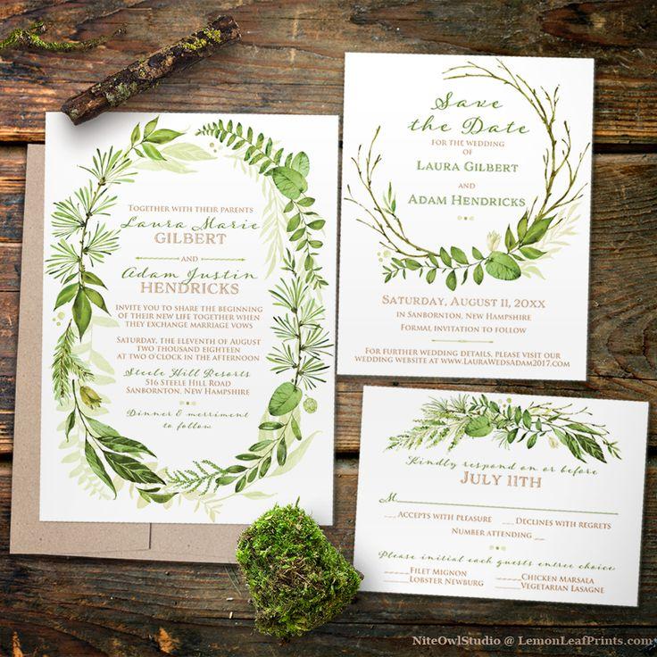 Green botanical wreath illustration wedding invitation set for a greenery wedding in the spring or summer.