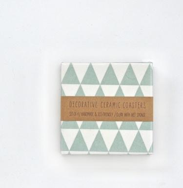 Ceramic Coasters Mint Triangles