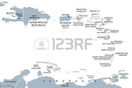 Antillas Menores mapa político. Caribes con Haití, República Dominicana y Puerto Rico en el Mar Caribe. Ilustración gris con etiquetado Inglés sobre fondo blanco. Vector.