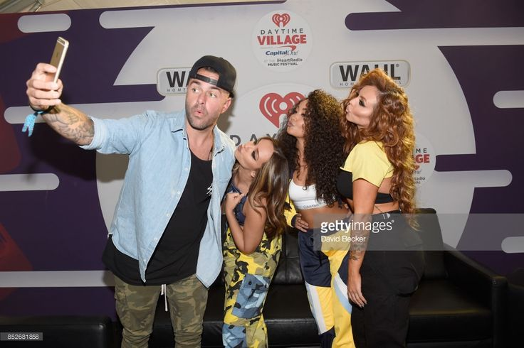 Billy The Kidd with Jade Thirlwall, Leigh-Anne Pinnock and Jesy Nelson of Little Mix backstage during the Daytime Village Presented by Capital One at the 2017 HeartRadio Music Festival at the Las Vegas Village on September 23, 2017 in Las Vegas, Nevada.