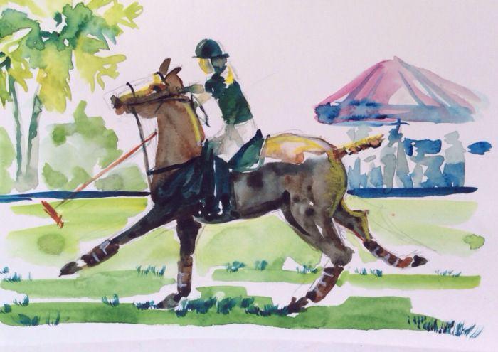 """watercolor, 6"""" x 8 1/2"""" $75.00 polo, polo pony, polo player, horse, horses"""