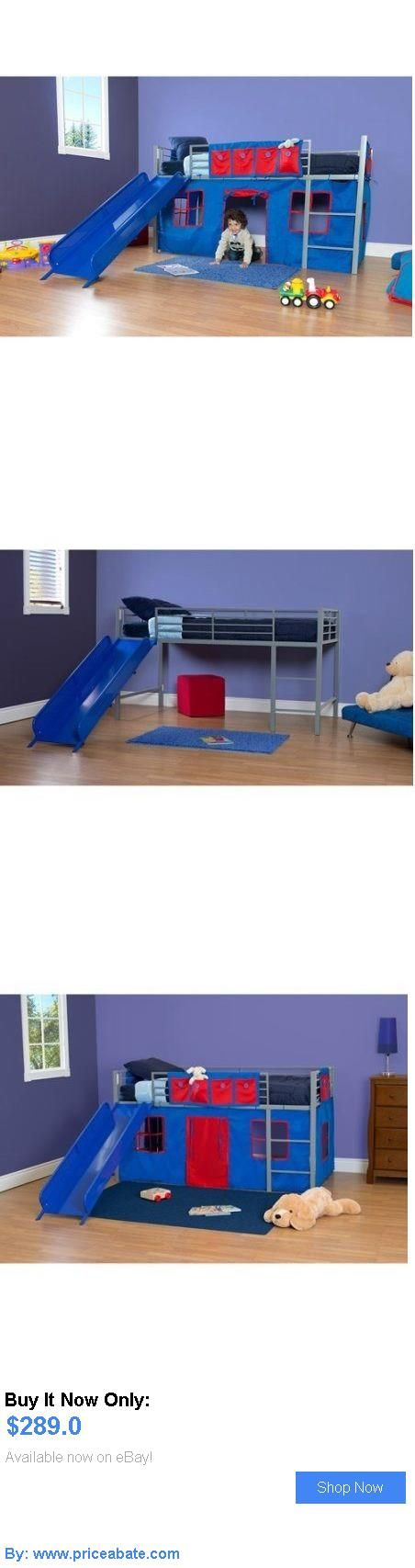 Kids At Home: Boys Twin Size Loft Bed With Slide Kids Children Bedroom  Furniture Blue. Etagenbetten ...