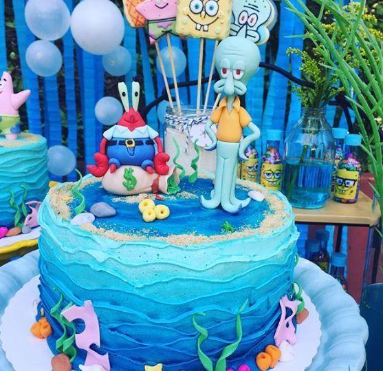 Torta para una fiesta tematica de Bob Esponja con Don Cangrejo y Calamardo! //// SpongeBob SquarePants party ideas!