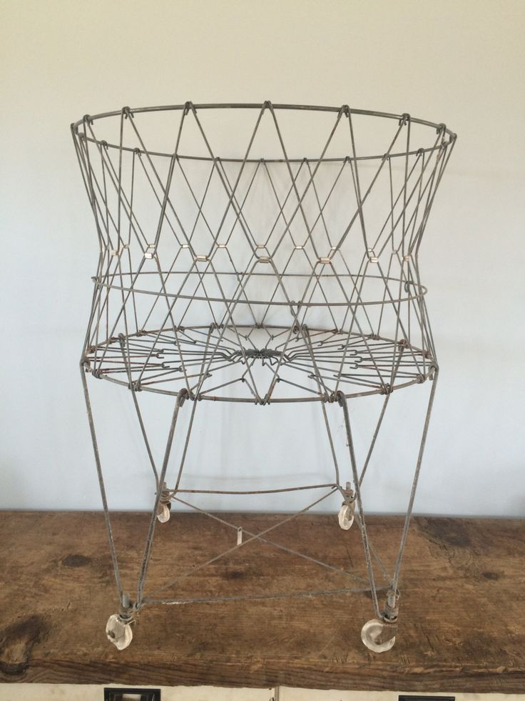 Vintage Original Collapsable Wire Laundry Basket On Wheels