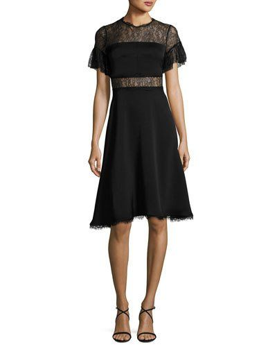 TVVQC Shoshanna Mirada Short-Sleeve Lace Crepe Cocktail Dress