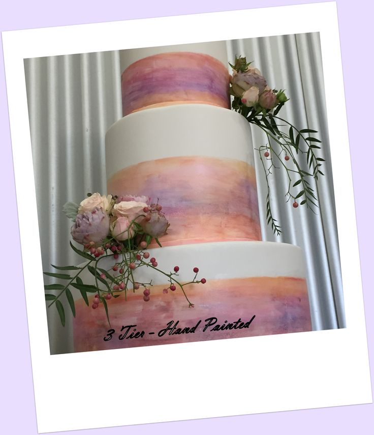 Beautiful Hand Painted 3 Tier Wedding Cake.   This cake is the perfect trio for dessert for your wedding guests as each tier is a different flavour (Chocolate Mud, White Chocolate Mud and Caramel). YUMMMM