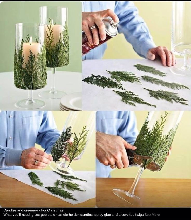 Decorate table top with Christmas tree leaves