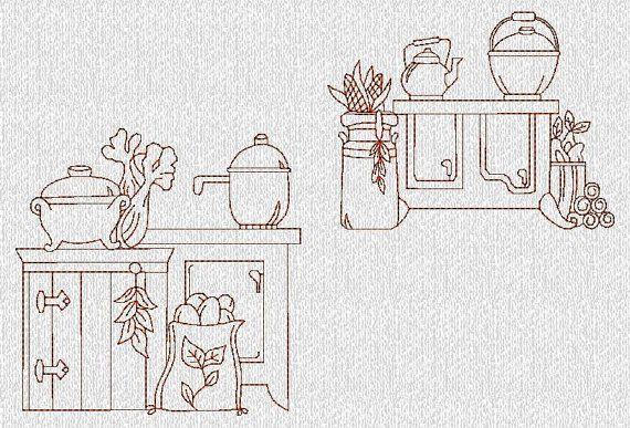 INSTANT DOWNLOAD Vintage Kitchen Stoves Redwork por embroiderygirl