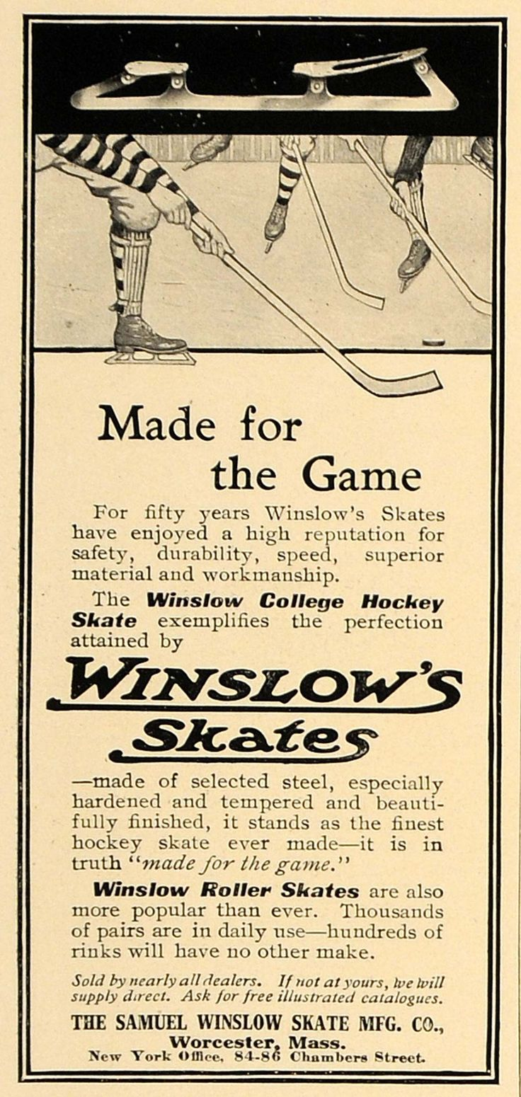 1906 Ad Winslow College Hockey Skate Roller Skates - ORIGINAL ADVERTISING CL4