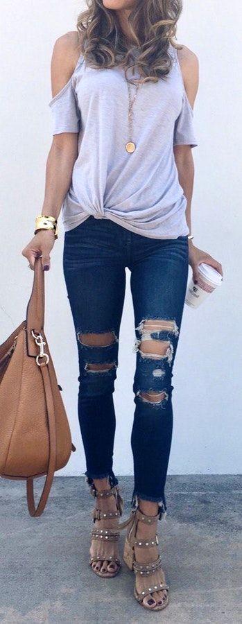 #summer #outfits   Grey Cold Shoulder Top + Destroyed Skinny Jeans + Studded Sandals