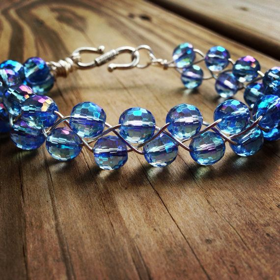 Blue AB Faceted Disco Ball Braided Bracelet by SisterMoonJewelryCo