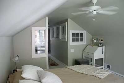 Interior walls with windows! Great way to make rooms in a converted space and keep the light flowing through.: Exterior Windows, Lots Of Windows, Vintage Simple, Interior Ideas, Attic Room, Interior Windows, Indoor Windows, Interior Walls