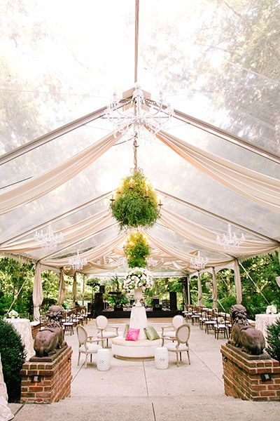 The greens and chandeliers add a touch of sophistication to this gorgeous garden party venue #wedding #weddingreception #gardenparty #gardenwedding #chic