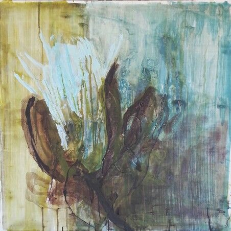 Janine Holloway-'Dissolving Protea 2'-Acrylic on board -600x600mm