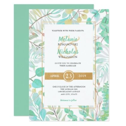 Spring Greenery  gold accents wedding suite Card - invitations personalize custom special event invitation idea style party card cards