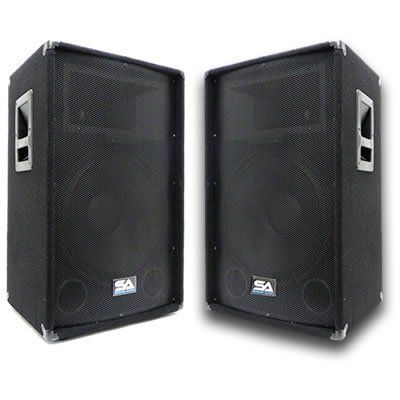 """Seismic Audio - Pair of 15"""" PA DJ Speakers 700 Watts PRO Audio - Mains, Monitors, Bands, Karaoke, Churches, Weddings by Seismic Audio. $284.99. Pair of Professional 15"""" Speaker Mains      Model #: SA-15T (Set of 2)  15"""" Woofer  350 Watts RMS; 700 Watts Peak per cabinet  Woofer has 50 ounce magnet and 2.5"""" kapton voice coil  1.5"""" Titanium tweeter driver with 10 ounce magnet and 1"""" throat  Two 1/4"""" inputs and two Speakon inputs  Frequency Response: 45Hz to 20kHz  Crossover..."""