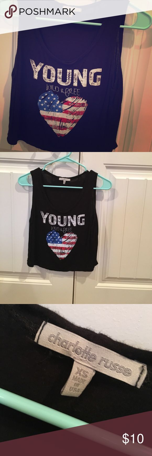 XSmall black crop tank. This tank was bought last summer from Charolette Rouse and only worn once to a specific event. It is cropped. Very comfortable, good condition. Charlotte Russe Tops Tank Tops