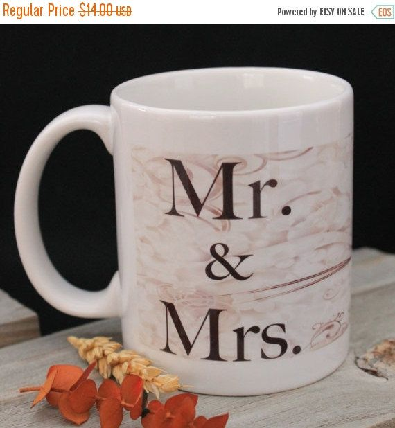 Unique Mugs For Sale Part - 35: ON SALE 40% OFF Wedding Coffee Mug, Mr And Mrs Gift, 11oz White