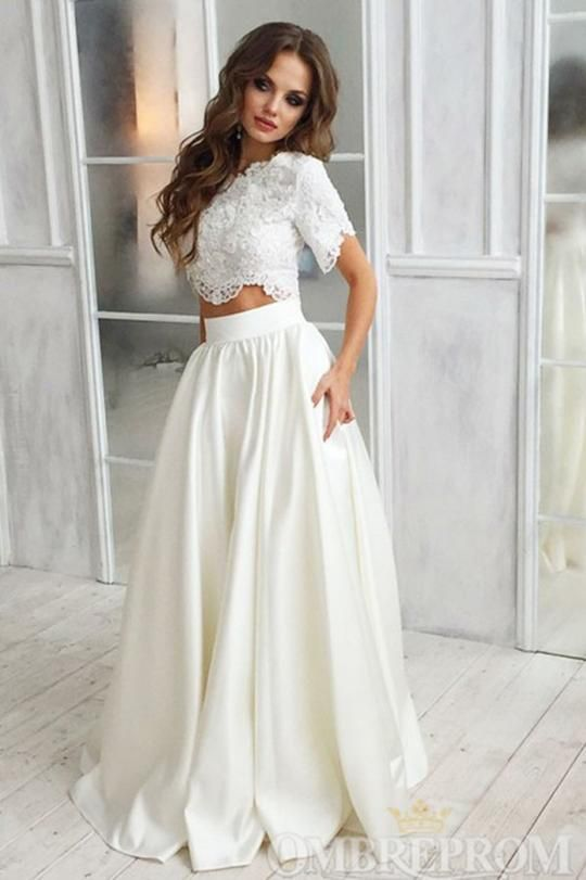 Two Piece Wedding Dress Short Sleeves Bridal Gowns W795 Wedding