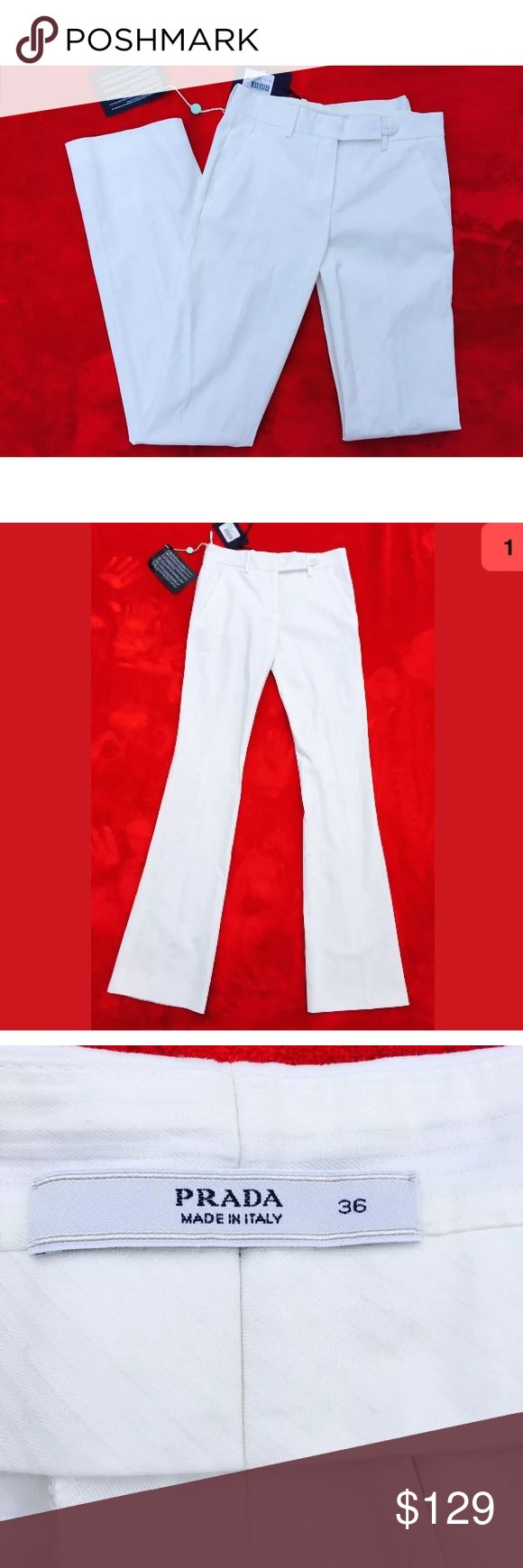 """Prada Bup Fine Gabardine Pants 36 trouser white Prada Bup Fine Gabardine Pants/Pantaloni Stretch. White/Bianco, Size 36. Made in Italy. New With Tags.   Approximate Measurements:  Waist: 29""""  Front rise: 9""""  Hips: 36""""  Inseam: 34.5""""  Leg opening: 9""""  (Measured laying flat, side to side, not doubled)  Weight: 13.5 oz.   Item ships in one business day! Check out my other listings, I will combine shipping costs. From a smoke-free home.  Thank you! Prada Pants Trousers"""