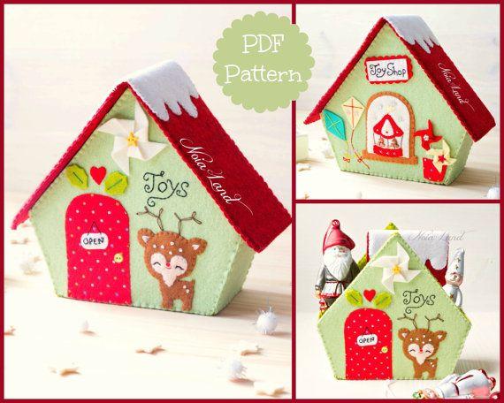 Patrón PDF. Tienda de juguetes. Casa de la Navidad.