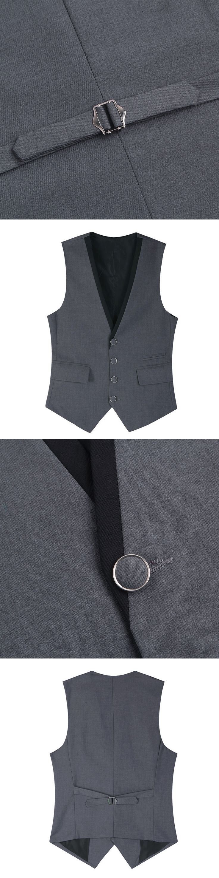 Men Suit Vest Black Grey 4 Buttons V Collar Classic Dress Slim Fit Vests Male Sleeveless Brand Mens Formal Wedding Waistcoat 3XL