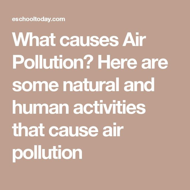 What causes Air Pollution? Here are some natural and human activities that cause air pollution