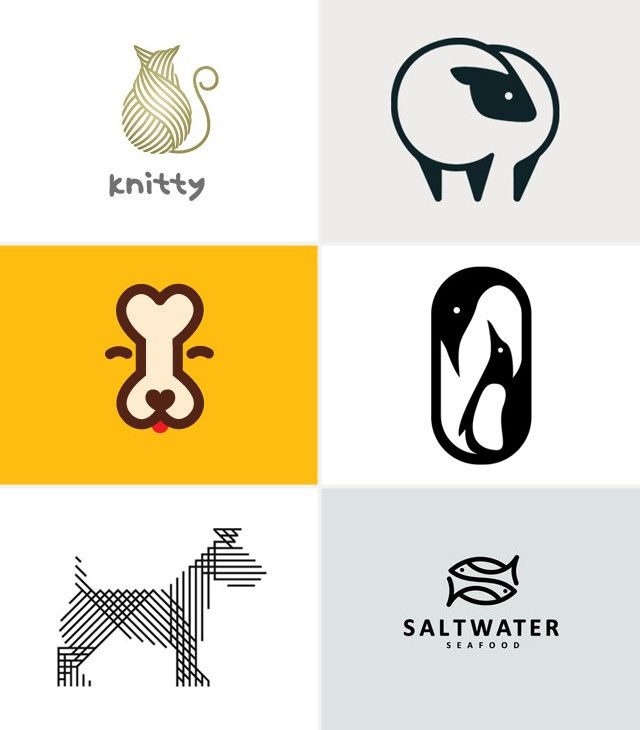 6 Logos - Animals | Vale Design. - i like how both the cat and dog are represented by items stereotypical to the animals; the bone for the dog and the yarn ball for the cat. all the logos seen here use strong lines and contrast to make them bold and stand alone. Also all the logo's use stylized drawings and they dont look realistic