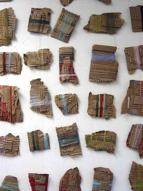 Untitled (thread and cardboard) by Laura Wennstrom  - inexpensive materials make strong statement
