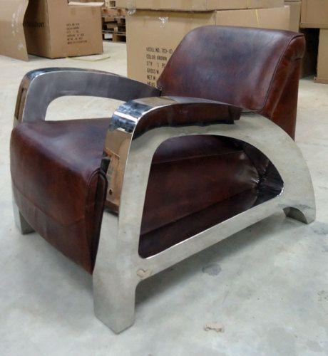 Fauteuil cuir italien vieilli inox seat pinterest - Fauteuil cuir italien ...