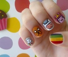 Adventure Time nails.