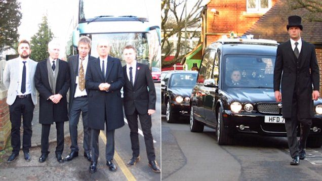 Guests attend Status Quo member Rick Parfitt's funeral held at Woking crematorium in Surrey, on Thursday afternoon. Celebrities in attendance include Leon Cave, Andrew Bown, John 'Rhino' Edwards, Francis Rossi and Patti Beedon.