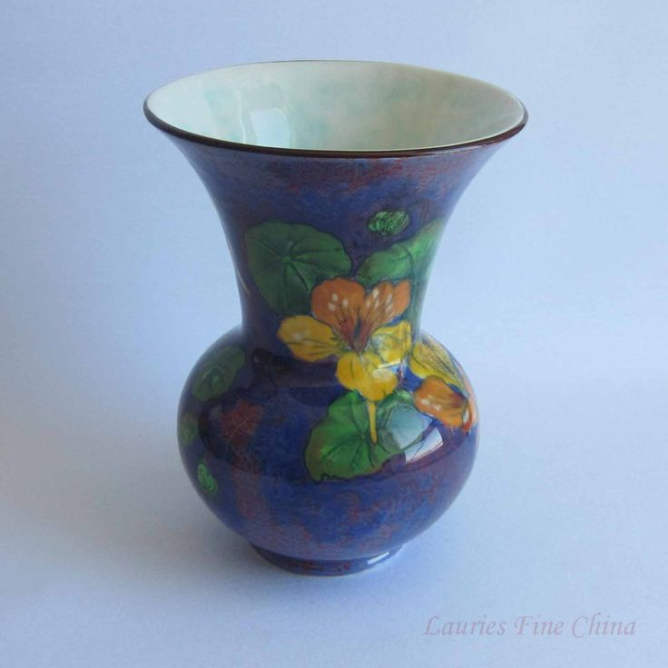 Free Shipping Royal Doulton Vase D6325 Deep Purple with Multi Colour Flowers by LauriesFineChina on Etsy