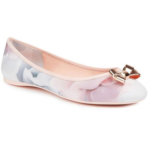 Ted Baker London IMME 2 Ballerina Flats (£87) ❤ liked on Polyvore featuring shoes, flats, porcelain rose, bow ballet flats, ballerina shoes, flat pump shoes, shiny shoes and ballerina flat shoes