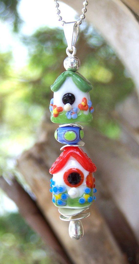 Whimsical Pendant of Lampwork Glass Bird by GracefulGlassDesigns, $35.00