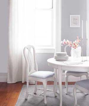 a breezy light grey dining room