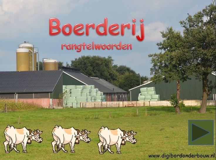 Digibordles boerderij rangtelwoorden.  http://www.digibordonderbouw.nl/index.php/themas/boerderij/boerderijdigibordlessen/boerderijalgemeen/viewcategory/180