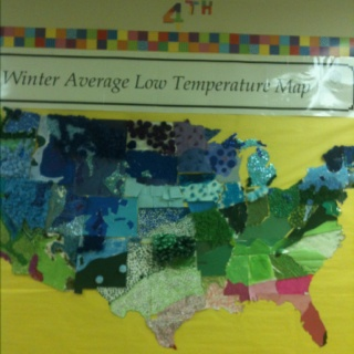 4th grade temperature map using a variety of materials...but no markers.